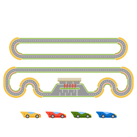 curve road: Race track curve road vector. Top view of car sport competition constructor symbols. Circuit transportation tire speedway line. Automobile highway flare formula finish.