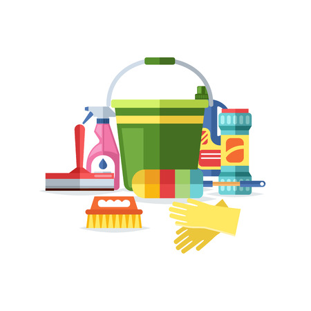 kitchen cleaning: Home cleaning tools flat vector icons set. Vector products detergent symbols illustration. Other hygiene liquid isolated on white background. Housework equipment.
