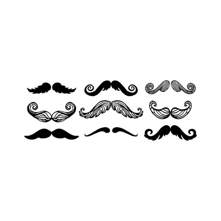 gave: Black silhouette vector mustache. Hair hipster set. Curly collection beard barber. Gentleman symbol fashion adult human facial gave. Cartoon person mask variation design. Illustration