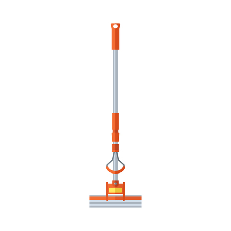 Essential tool for cleaning hose floor mop washing window isolated on white. Professional work tool service hygiene equipment flat vector illustration.