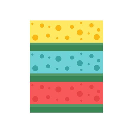celulosa: La celulosa esponjas de color trapo de limpieza para el saneamiento de limpieza limpieza doblado material. ilustración vectorial higiene limpie herramienta de la cocina doméstica aislado en blanco.