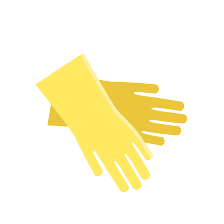 Yellow glove for hygiene cleaning and wash work protection. Rubber tool cartoon housekeeping industry wet dirty sanitize flat icon vector illustration.