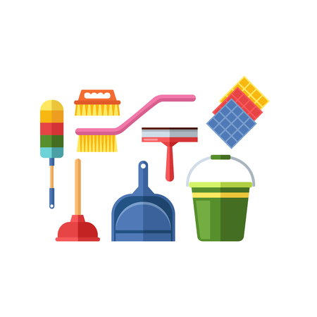 kitchen cleaning: House cleaning tools vector Illustration
