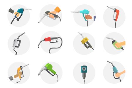 metrology: Filling gas station pistol vector illustration.