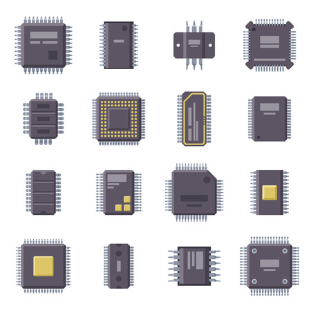 micro: Micro chip isolated vector illustration.