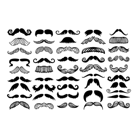 Vector mustache silhouette isolated Illustration