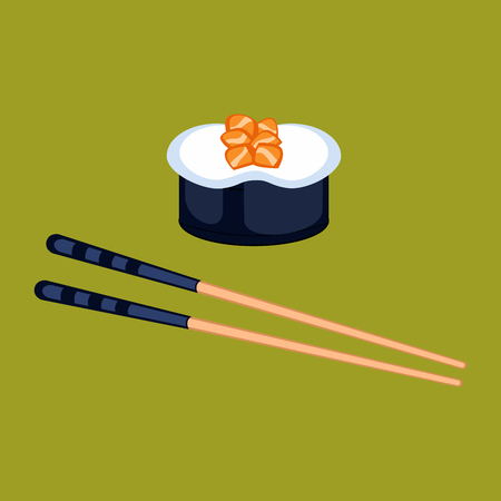 Sushi food and chopsticks vector illustration.