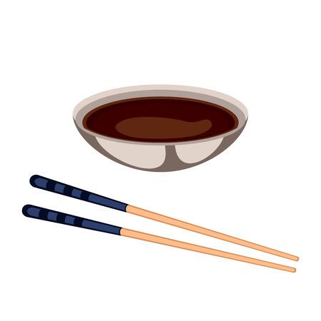 Suszi kumberlandu jedzenie i chopsticks wektoru ilustracja.