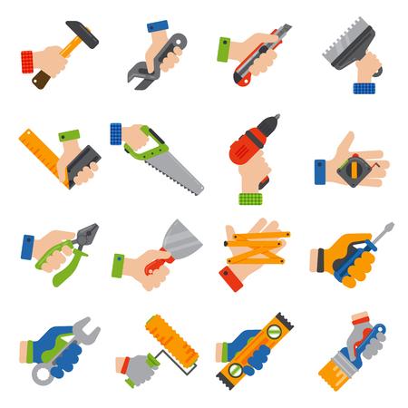 建設ツール ワーカー装備手。住宅改修便利屋ベクトル イラスト。大工産業構築ジョブ レンチは修復作業です。