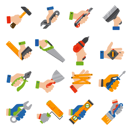 Hands with construction tools worker equipment. House renovation handyman vector illustration. Carpenter industrial build job wrench repair working.