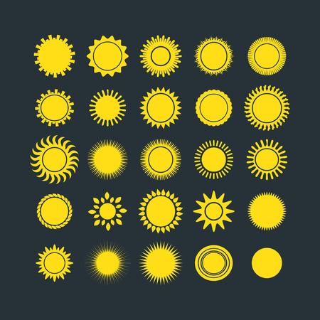graphic art: Sun icons weather collection vector illustration. Yellow graphic sunbeam hot light element. Nature solar abstract shine silhouette. Creative ray art season object. Illustration