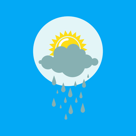 Weather rainy cloudy icon vector illustration. Season thermometer design thunder temperature sign. Meteorology sky or sun nature element for web application. Illustration