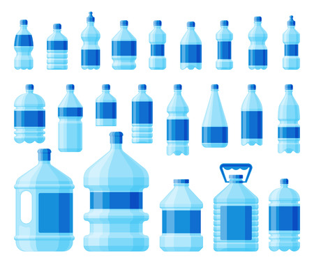 Water bottle set vector. Çizim