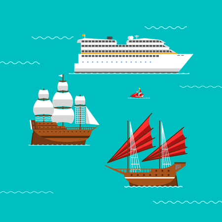 Ship and boats vector. Illustration