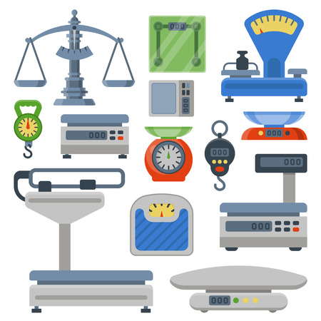 Weight measurement instrumentation tools vector illustration Çizim