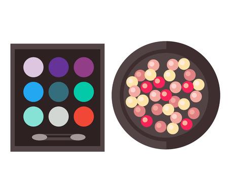 Eyeshadow and rouge isolated vector illustration. Illustration