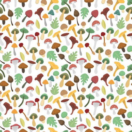 Mushrooms vector illustration seamless pattern