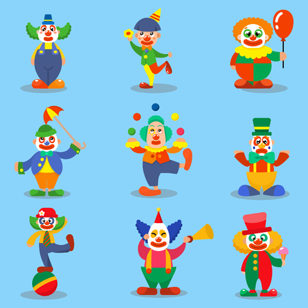 stage makeup: Clown cute characters vector cartoon illustrations