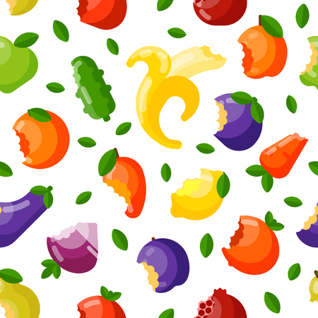 Bitten fruits vector seamless pattern. Illustration