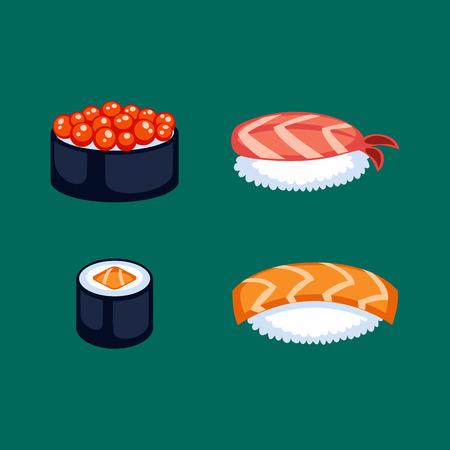 Sushi food vector illustration.