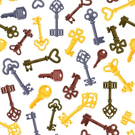 latchkey: Vintage keys seamless pattern vector.