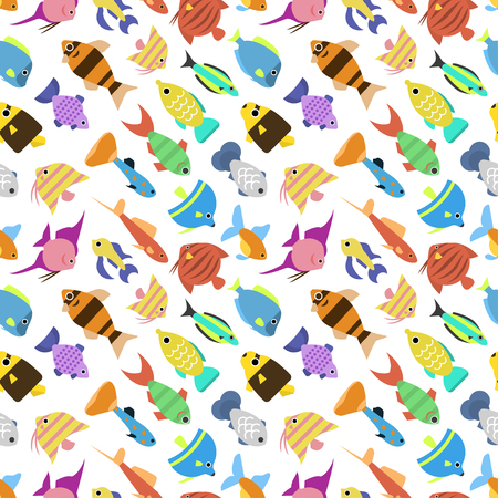 small group of objects: Cute fish vector illustration seamless pattern