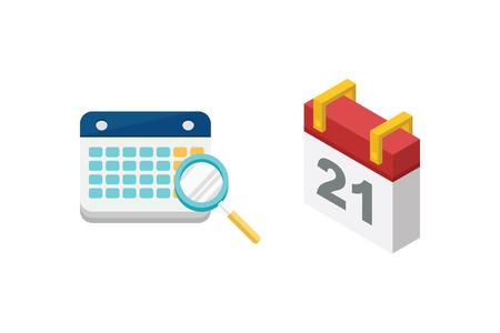 Vector calendar icon set.