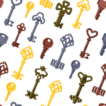 latchkey: Vintage keys seamless pattern vector.
