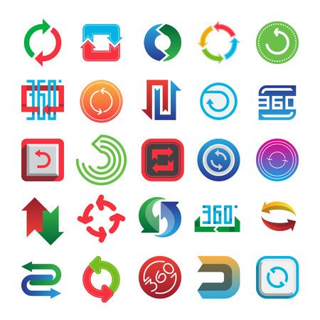 Rotate and 360 web icons vector set. Illustration