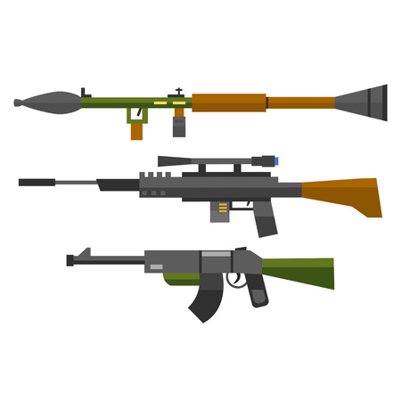 M16: Machine gun sniper rifle vector set.