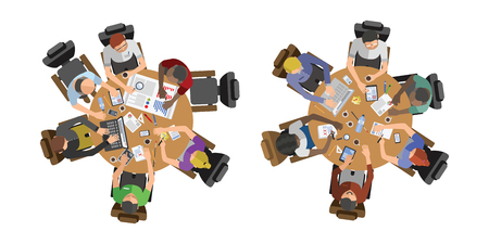 Business people sitting on table vector illustration