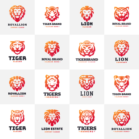Insignia del logotipo de la cara del tigre y de los leones