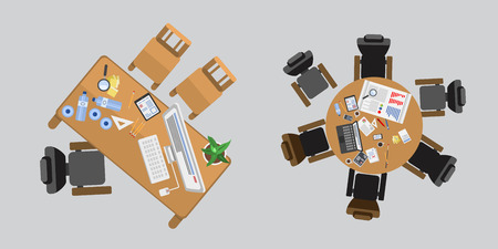 command: Business people sitting on table vector illustration