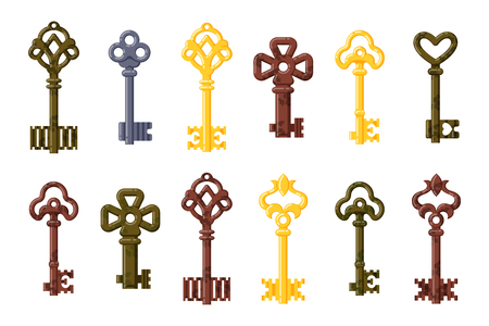 tool unlock: Vintage key vector isolated icon.