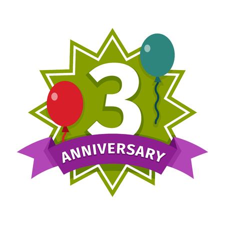 third birthday: Happy third birthday badge vector icon. Illustration
