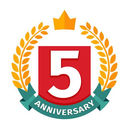 fifth: Happy fifth birthday badge vector icon.