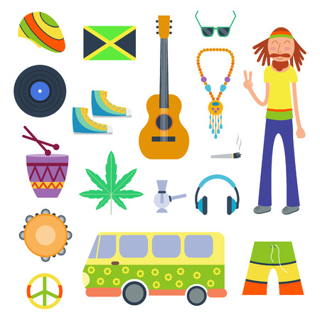 peace pipe: Rastafarian icons set in flat style vector illustration