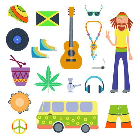 Rastafarian icons set in flat style vector illustration