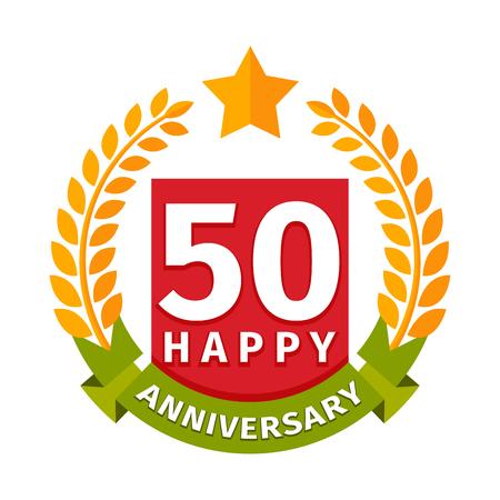 Happy fiftieth birthday badge vector icon. Stock Photo