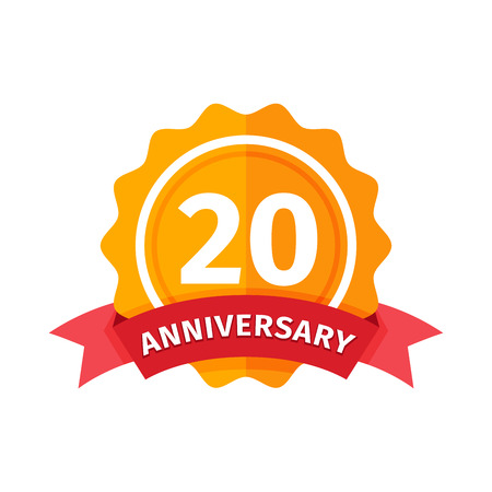 Happy twentieth birthday badge vector icon. Illustration
