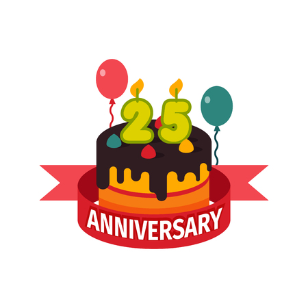 twenty fifth: Happy twenty fifth birthday badge vector icon. Illustration