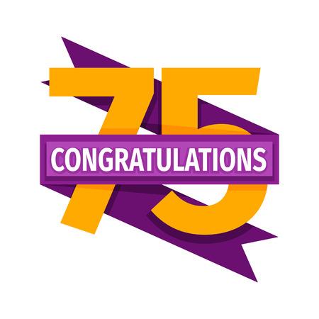 fifth: Happy seventy fifth birthday badge vector icon. Illustration