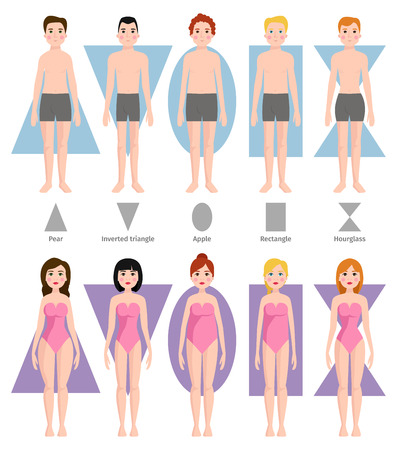 Vector illustration of different body shape types.