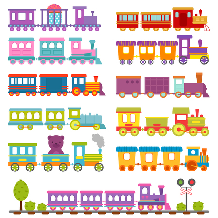 high speed train: Toy train different cartoon vector illustration. Stock Photo