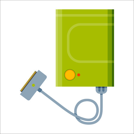 expressing negativity: Battery power bank energy electricity tool vector illustration.