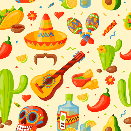 mexican ethnicity: Mexico icons seamless pattern vector illustration. Illustration