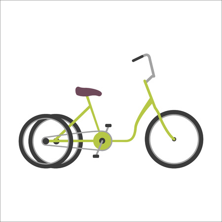 wheeled: Hipster two wheeled bicycle flat vector illustration.
