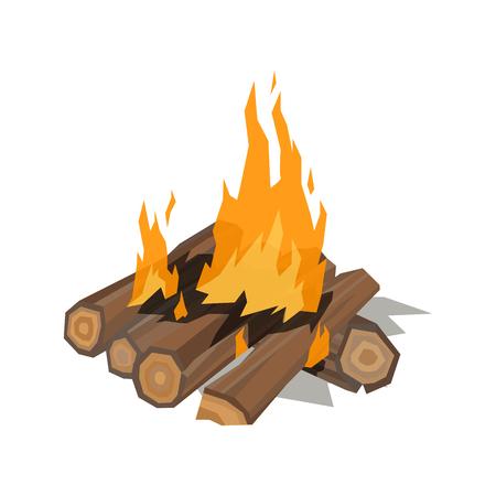 Bonfires flame isolated vector illustration. Illustration