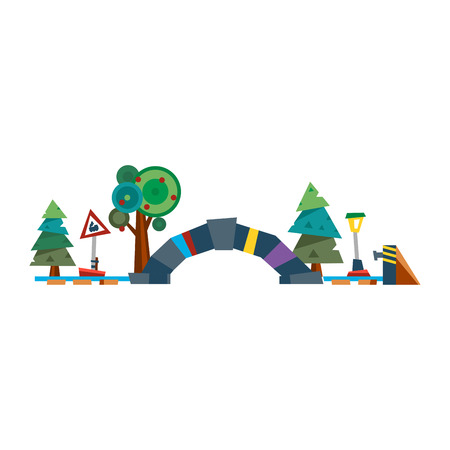 Flat design style abstract road tunnel and trees vector.