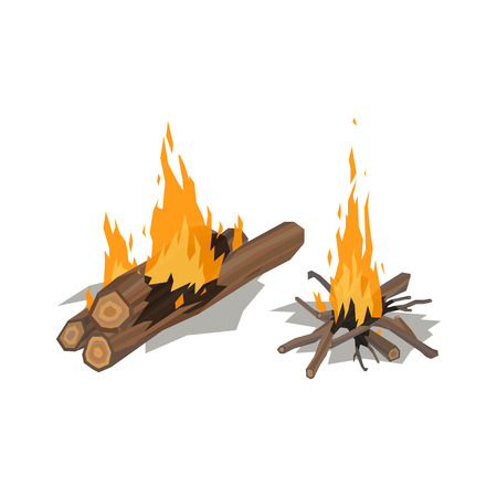 woodpile: Bonfires isolated vector illustration.